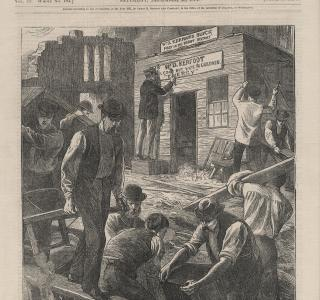 Rebuilding Chicago; Cover Illustration from Every Saturday, December 23, 1871 (ichi-63129)
