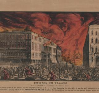 Chicago in Flames.  Scene in Dearborn St. Burning of the Tremont House; Kellogg & Bulkeley, Lithograph, 1872 (ichi-63130)