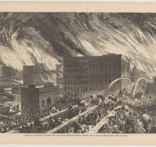 Chicago in Flames--The Rush for life over Randolph-Street Bridge; from Harper's Weekly, October 28, 1871 (ichi-63135)