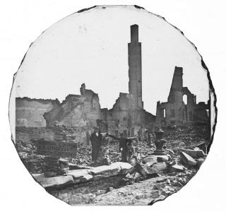 The Ruins of the Tremont House; Glass Lantern Slide, 1871 (ichi-64048)