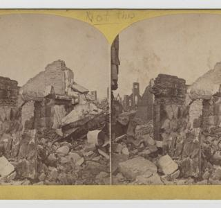 Terrace Row after the Fire; P. B. Greene, Stereograph, 1871 (ichi-64279)