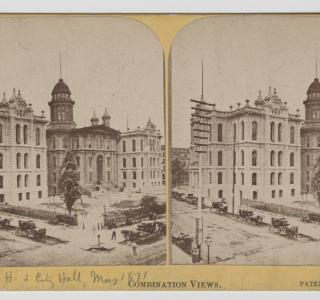 The Court House Shortly Before the Fire; Lovejoy & Foster, Stereograph, 1871 (ichi-64281)