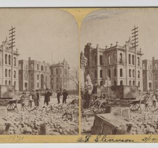 The Court House after the Fire; Lovejoy & Foster, Stereograph, 1871 (ichi-64282)