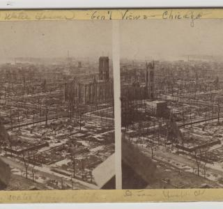 View Southwest from the Water Tower after the Fire; J. H. Abbott, Stereograph, 1871 (ichi-64284)