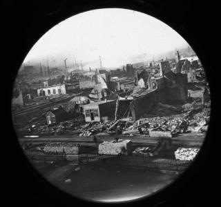 Northwest View from the Courthouse after the Fire; Copelin & Hine, Glass Lantern Slide, 1871 (ichi-64359)