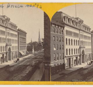 View of Crosby's Opera House before the Fire; Stereograph, ca. 1871 (ichi-64360)