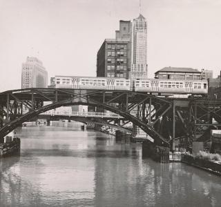 View North from the Van Buren Street Bridge; J. Sherwin Murphy, Photograph, 1954 (ichi-64363)