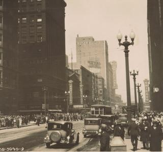 Looking North on State Street from Washington Street; Photograph, 1928 (ichi-64367)