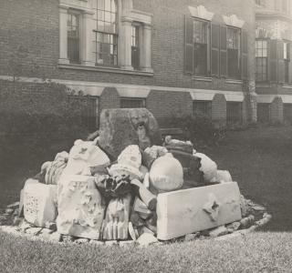 The Waubansee Stone and Other Fire Relics; Photograph, 1911 (ichi-64375)