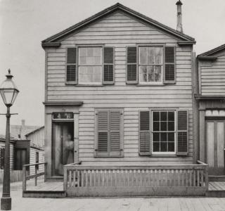 Residence on Monroe Street East of State Street; Potter Palmer Real Estate Album, Photograph, 1868-69 (ichi-64382)