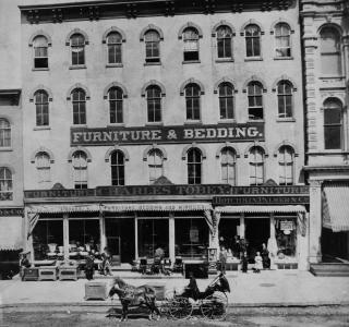 Charles Tobey Furniture and Bedding, 87-89-91 State Street (now 103 N. State); Potter Palmer Real Estate Album, Photograph, 1868-69 (ichi-64383)