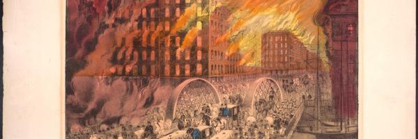 Chicago in Flames; Currier & Ives, Lithograph, ca. 1871 (ichi-23436)