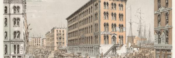 Corner of Clark and Water Streets; Louis Kurz for Jevne & Almini, Lithograph, 1866-67 (ichi-62077)